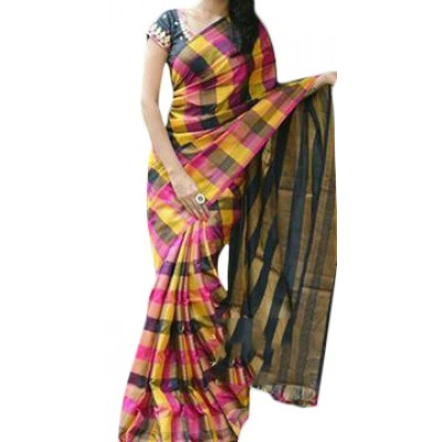 Veerfashions Multi Colour Tissue Silk Uppada Handloom Saree