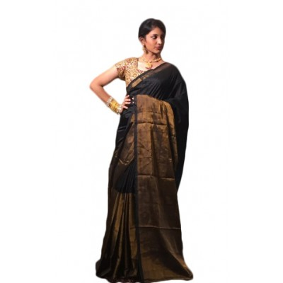 Veerfashions Black Tissue Silk Uppada Handloom Saree