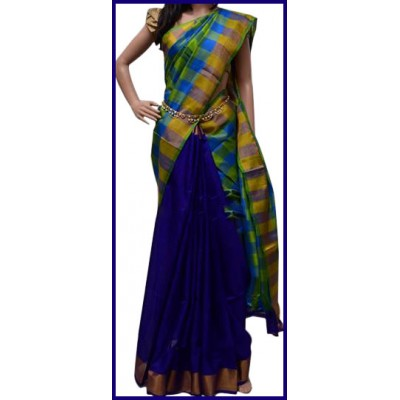Veerfashions Blue and Green Silk Uppada Handloom Saree