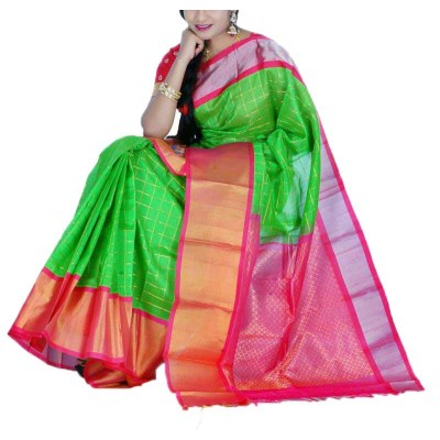 Veerfashions Green Cotton Silk Kuppadam Handloom Saree