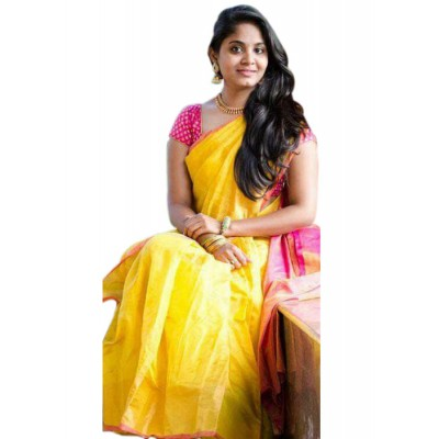 Veerfashions Yellow Tissue Silk Uppada Handloom Saree