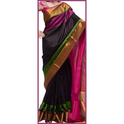 Veerfashions Black Silk Uppada Handloom Saree