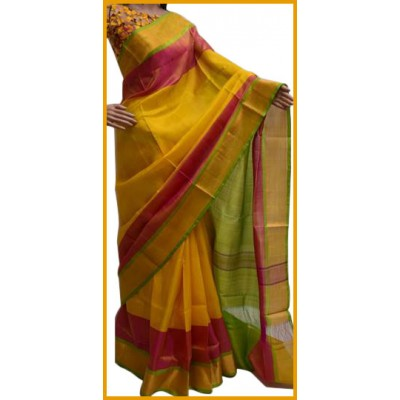 Veerfashions Yellow Silk Uppada Handloom Saree