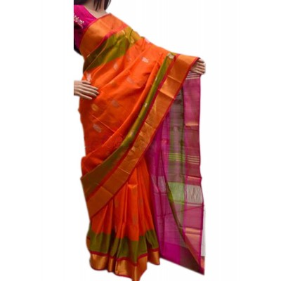 Veerfashions Orange Silk Uppada Handloom Saree