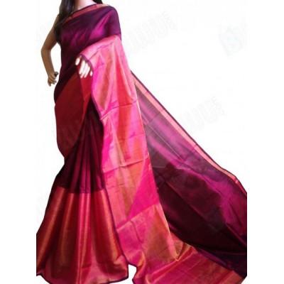Veerfashions Maroon Pure Silk Uppada Handloom Saree