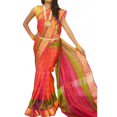 Veerfashions Orange Pure Silk Uppada Handloom Saree