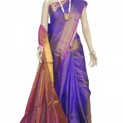 Veerfashions Blue Tissue Silk Uppada Handloom Saree