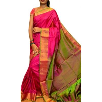 Veerfashions Pink Pure Silk Uppada Handloom Saree