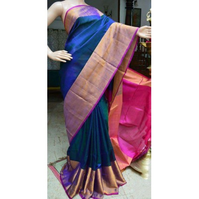 Veerfashions Blue Pure Silk Uppada Handloom Saree