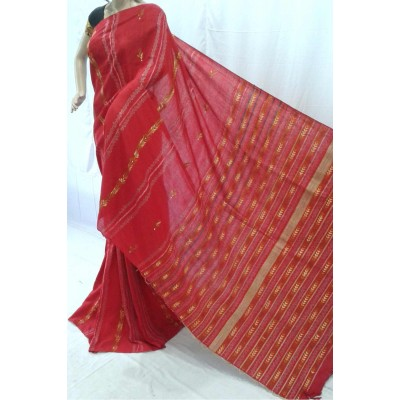BENGAL CRAFT Red Cotton Kantha Worked Bengal Tant Handloom Saree