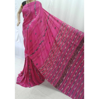 BENGAL CRAFT Pink Cotton Kantha Worked Bengal Tant Handloom Saree
