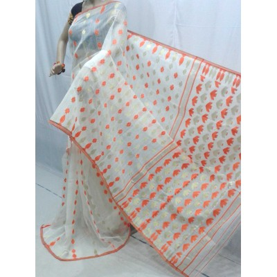 BENGAL CRAFT White Cotton Dhakai Jamdani saree