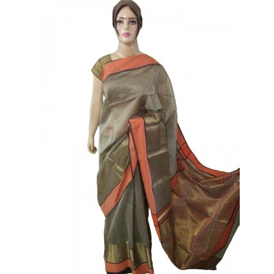 Sheikh fabric Beige Cotton Silk Maheshwari Handloom Saree