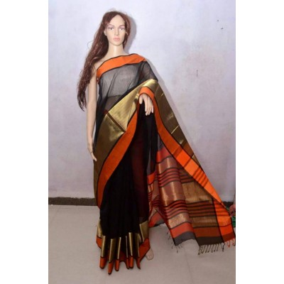 Sheikh fabric Black Cotton Silk Maheshwari Handloom Saree