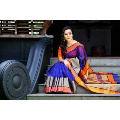 Sheikh fabric Blue Cotton Silk Maheshwari Handloom Saree