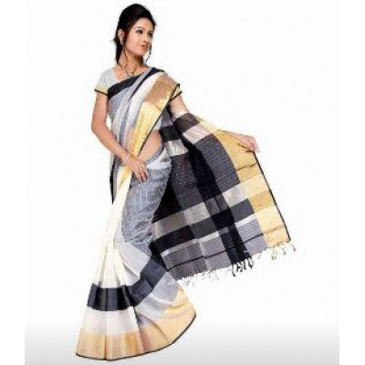 Sheikh fabric Black & White Cotton Silk Maheshwari Handloom Saree