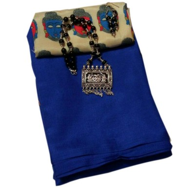 March8Collection Royal blue Soft Silk Saree