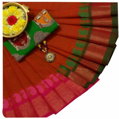 March8Collection Brown Cotton Mango border Chettinadu Handloom Saree