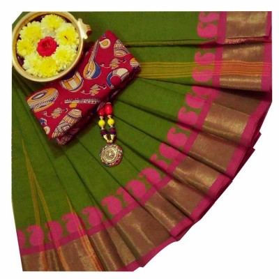 March8Collection Green Cotton Mango border Chettinadu Handloom Saree