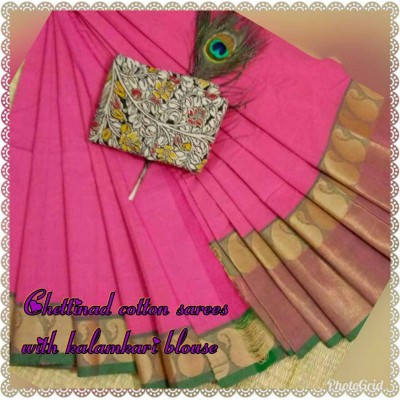 March8Collection Pink Cotton Mango border Chettinadu Handloom Saree
