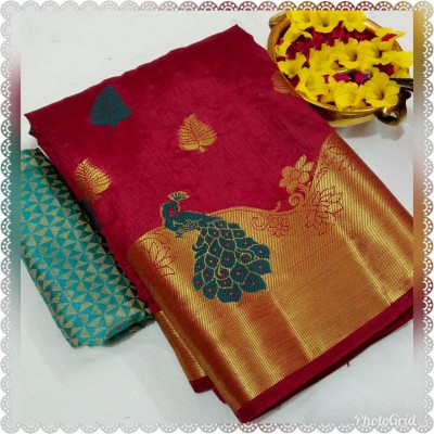 March8Collection Maroon Dupion Silk Peacock Designed Saree