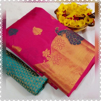 March8Collection Pink Dupion Silk Peacock Designed Saree