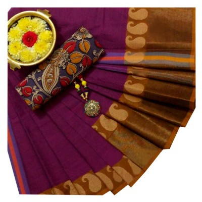 March8Collection Magenta Cotton Mango border Chettinadu Handloom Saree