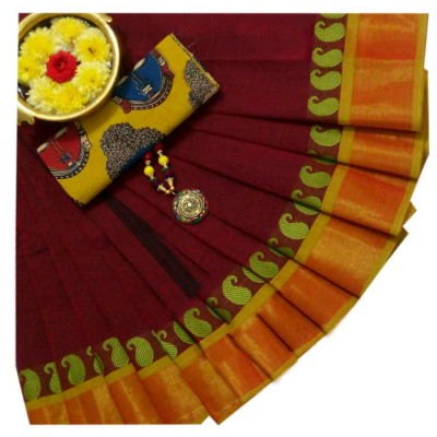 March8Collection Maroon Cotton Mango border Chettinadu Handloom Saree