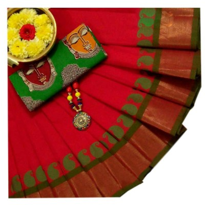March8Collection Red Cotton Mango border Chettinadu Handloom Saree