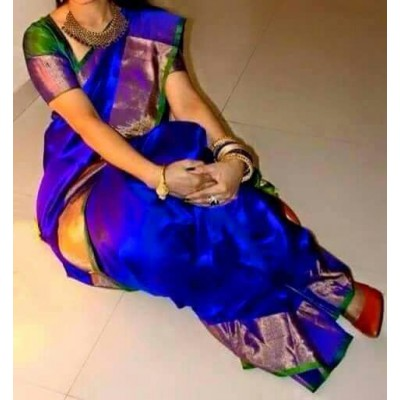 Durga Blue Silk Uppada Handloom Saree