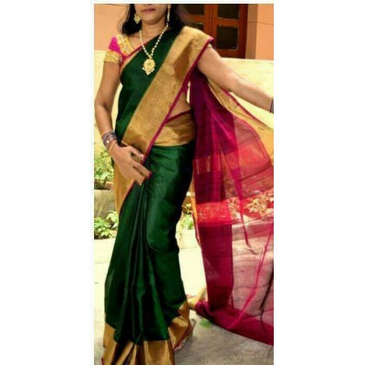 Durga Green Silk Uppada Handloom Saree
