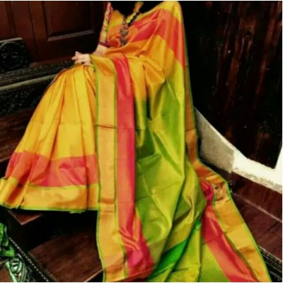 Durga Multi Colour Silk Uppada Handloom Saree