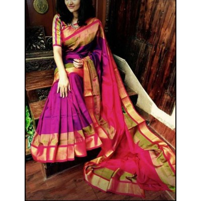 Durga Purple Silk Uppada Handloom Saree