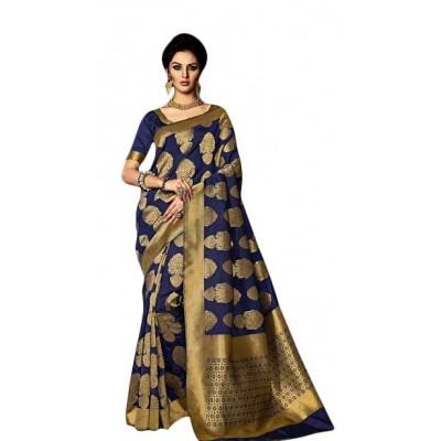 Aarchi Tex Navy Blue Kamakshi Silk Printed Saree