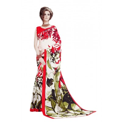Aarchi Tex Cream and Red Japanese Crepe Printed Saree