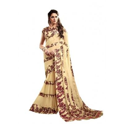 Aarchi Tex Cream Satin Patta Printed Saree