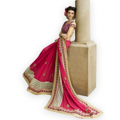 Aarchi Tex Maroon Georgette & Net Embroidered Saree