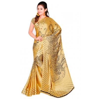 Aarchi Tex Gold Japanese Crepe Printed Saree