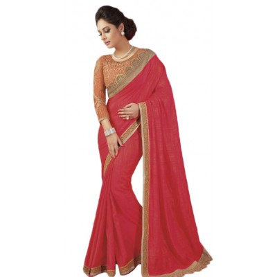 Aarchi Tex Red Fancy Cotton Embroidered Saree