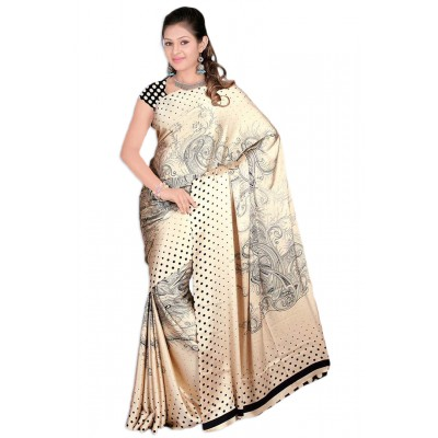 Aarchi Tex Cream Japanese Crepe Printed Saree