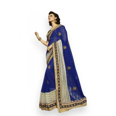 Aarchi Tex Navy Blue Georgette & Net Embroidered Saree