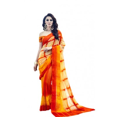 Aarchi Tex Orange Satin Patta Printed Saree