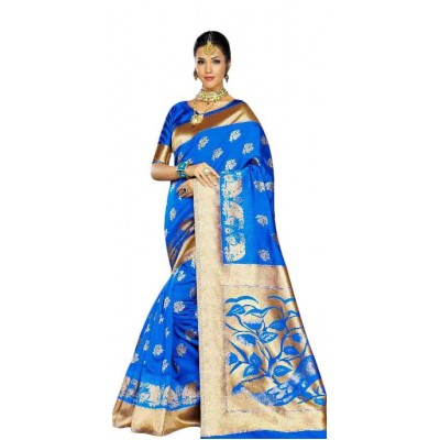 Aarchi Tex Blue Kanchana Silk Printed Saree