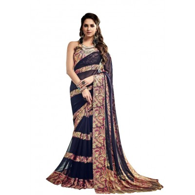 Aarchi Tex Dark Blue Satin Patta Printed Saree