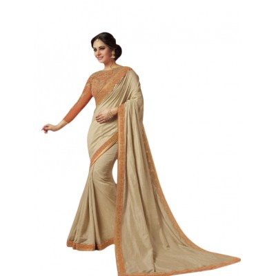 Aarchi Tex Cream Fancy Cotton Saree