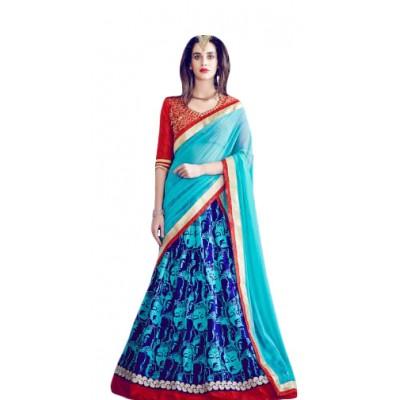 Aarchi Tex Blue & Red Banglori Silk Digital printed Semi-Stitched Lehenga Choli