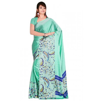 Aarchi Tex Sea Green Japanese Crepe Saree