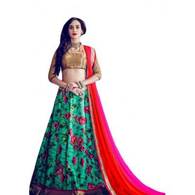 Aarchi Tex Green Banglori Silk Digital printed Semi-Stitched Lehenga Choli