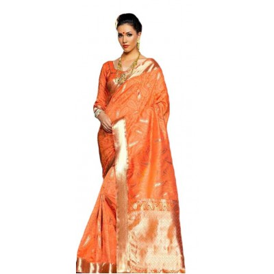 Aarchi Tex Orange Kanchana Silk Printed Saree