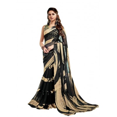 Aarchi Tex Black & Gold Satin Patta Printed Saree